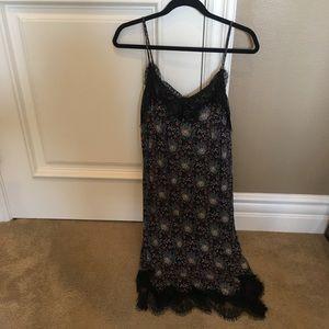 Irene's Story: Blue Patterned Dress w/ Lace Hem